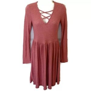 Altar'd State Pink Ribbed Swing V-Neck Dress